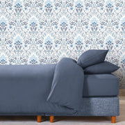 Persian Damask Peel and Stick Wallpaper blue roomset 1