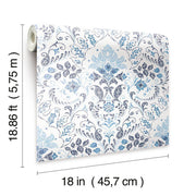 Persian Damask Peel and Stick Wallpaper blue dimensions