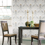 Persian Damask Peel and Stick Wallpaper gray roomset 2