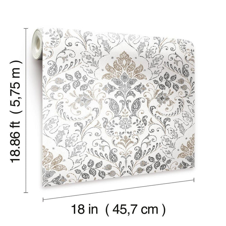 Persian Damask Peel and Stick Wallpaper gray dimensions