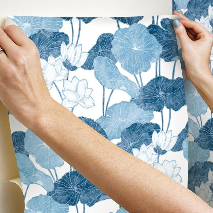 Lily Pad Peel and Stick Wallpaper blue white hang