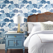 Lily Pad Peel and Stick Wallpaper blue white roomset