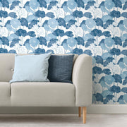Lily Pad Peel and Stick Wallpaper blue white roomset 2