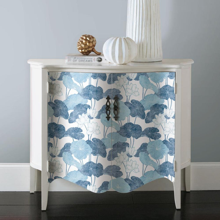 Lily Pad Peel and Stick Wallpaper blue white roomset 3