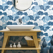 Lily Pad Peel and Stick Wallpaper blue white roomset 4