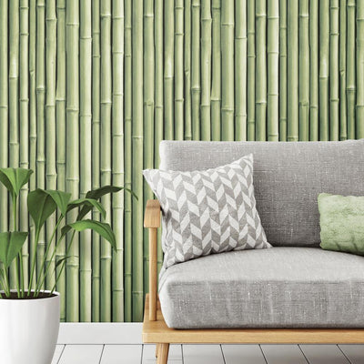 Bamboo Peel and Stick Wallpaper green roomset