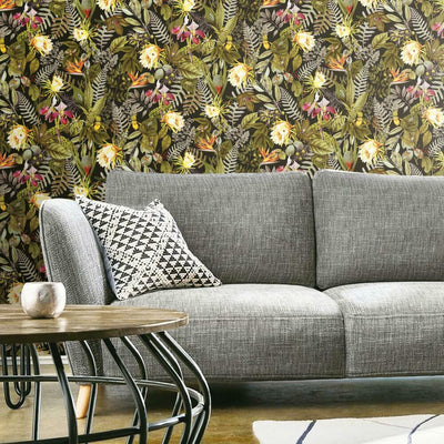 Tropical Flowers Peel and Stick Wallpaper black roomset
