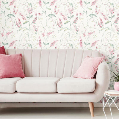 Floral Sprig Peel and Stick Wallpaper roomset