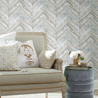 Herringbone Wood Boards Peel and Stick Wallpaper roomset 6