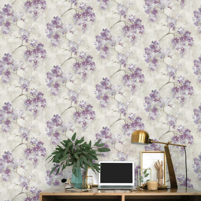Weeping Cherry Tree Blossom Peel and Stick Wallpaper purple roomset
