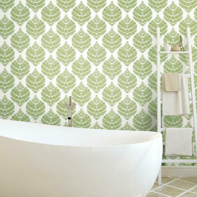 Hygge Fern Damask Peel and Stick Wallpaper green roomset