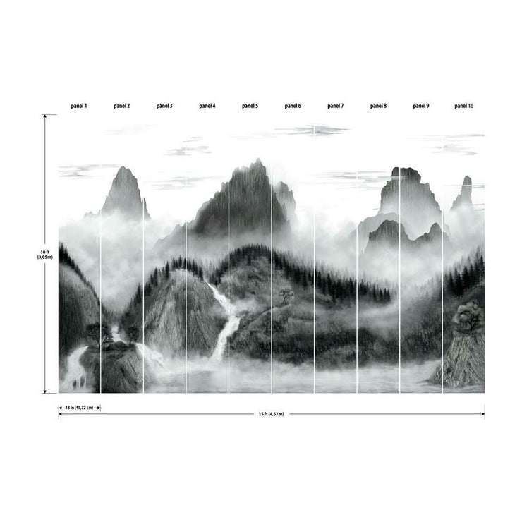 Majestic Mountains Peel and Stick Wallpaper Mural black dimensions