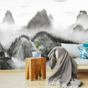Majestic Mountains Peel and Stick Wallpaper Mural black roomset
