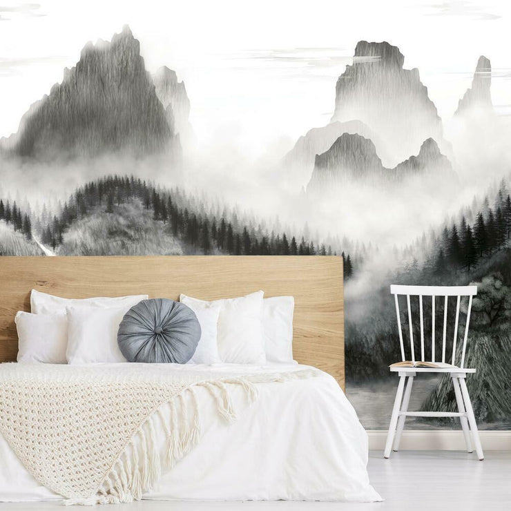 Majestic Mountains Peel and Stick Wallpaper Mural black roomset 2