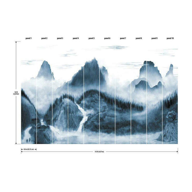 Majestic Mountains Peel and Stick Wallpaper Mural navy dimensions