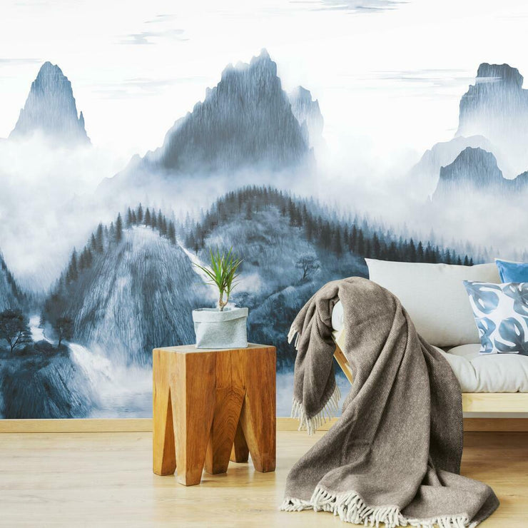 Majestic Mountains Peel and Stick Wallpaper Mural navy roomset