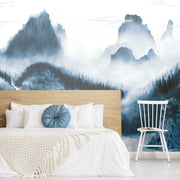 Majestic Mountains Peel and Stick Wallpaper Mural navy roomset 2