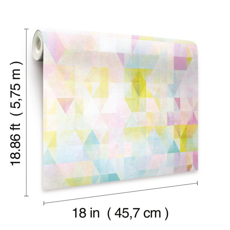 Prismatic Geo Peel and Stick Wallpaper multicolored dimensions