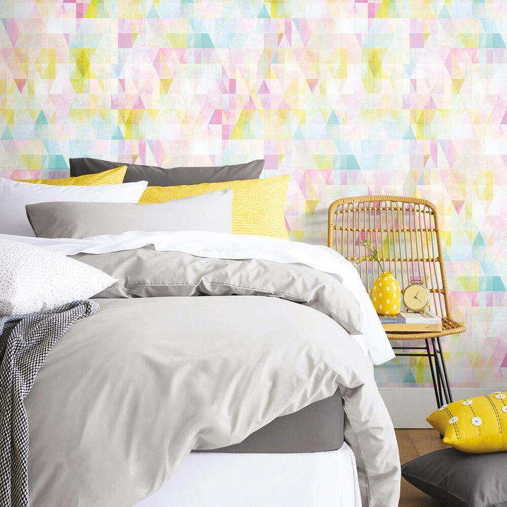 Prismatic Geo Peel and Stick Wallpaper multicolored roomset 2