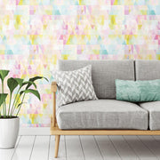Prismatic Geo Peel and Stick Wallpaper multicolored roomset