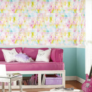 Prismatic Geo Peel and Stick Wallpaper multicolored roomset 3