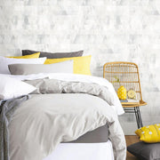 Prismatic Geo Peel and Stick Wallpaper gray roomset 2