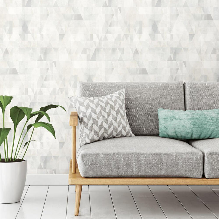 Prismatic Geo Peel and Stick Wallpaper gray roomset 1
