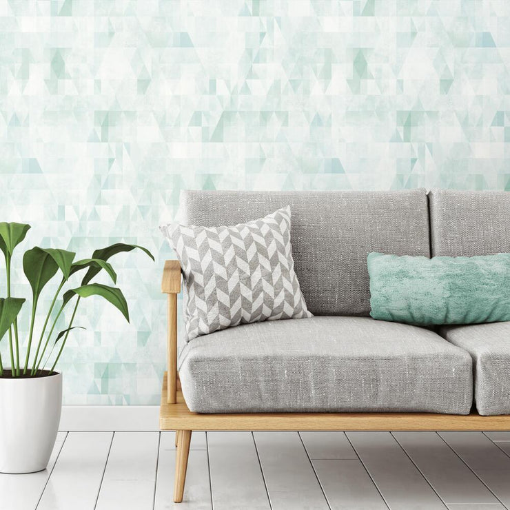 Prismatic Geo Peel and Stick Wallpaper green roomset 2