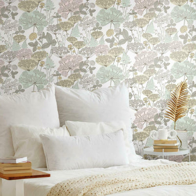 Finlayson Niittypolku Peel and Stick Wallpaper pink roomset 2
