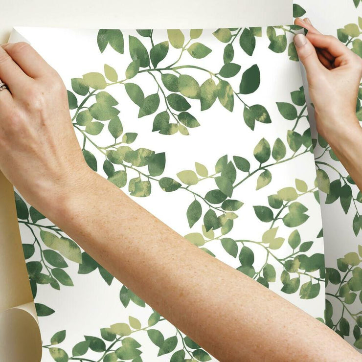 Finlayson Latvus Peel and Stick Wallpaper green hang