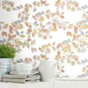 Finlayson Latvus Peel and Stick Wallpaper orange roomset