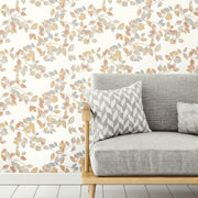 Finlayson Latvus Peel and Stick Wallpaper orange roomset 2