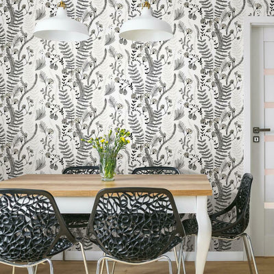 Finlayson Verso Peel and Stick Wallpaper gray roomset