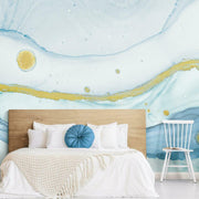 Sea Foam Peel and Stick Mural blue roomset