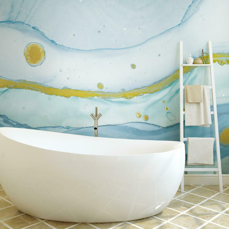 Sea Foam Peel and Stick Mural blue roomset 2