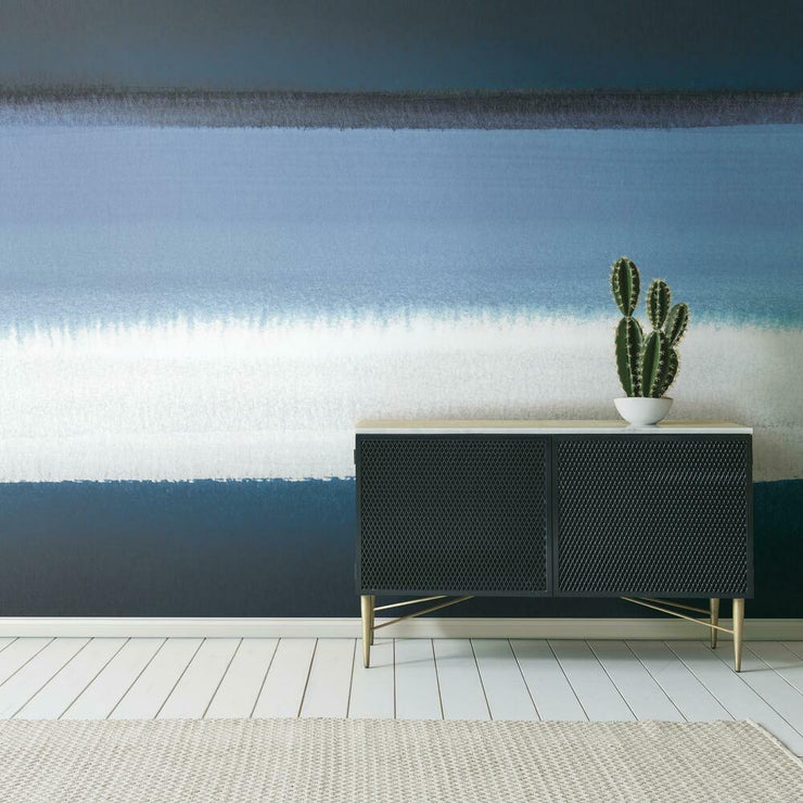 Watercolor Horizon Peel and Stick Mural blue roomset