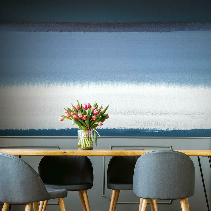 Watercolor Horizon Peel and Stick Mural blue roomset 2