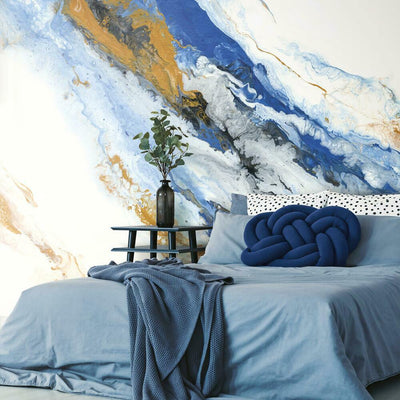 Crystal Geode Peel and Stick Mural blue roomset