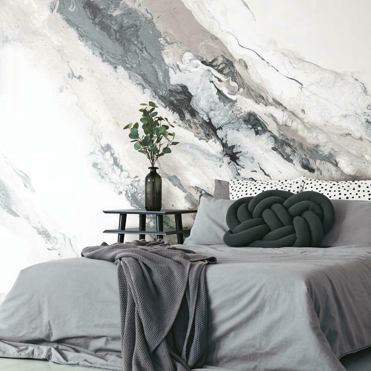 Crystal Geode Peel and Stick Mural gray roomset