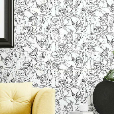 Vogue Sketches Peel and Stick Wallpaper roomset 2