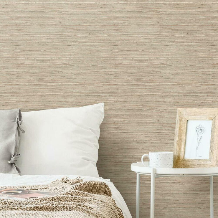 Grasscloth Peel and Stick Wallpaper taupe roomset
