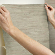 Grasscloth Peel and Stick Wallpaper taupe hang