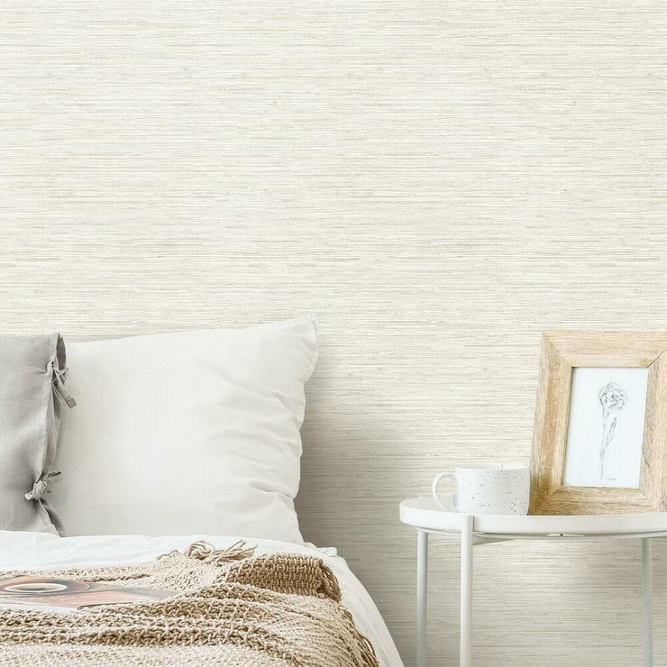 Grasscloth Peel and Stick Wallpaper beige roomset