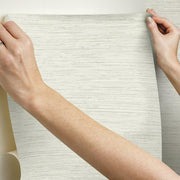 Grasscloth Peel and Stick Wallpaper beige hang