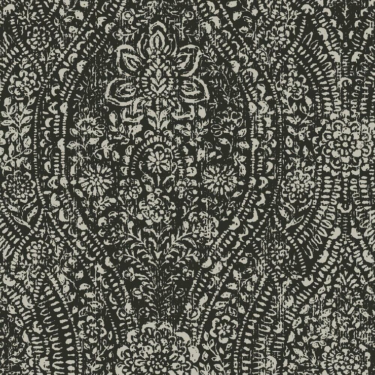 Ornate Ogee Peel and Stick Wallpaper black