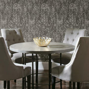 Ornate Ogee Peel and Stick Wallpaper black roomset
