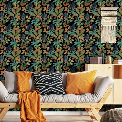 Funky Jungle Peel and Stick Wallpaper black roomset 2