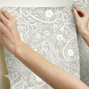 Paisley Prince Peel and Stick Wallpaper beige hang