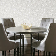 Paisley Prince Peel and Stick Wallpaper beige roomset 3