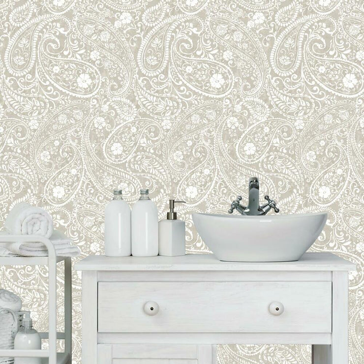 Paisley Prince Peel and Stick Wallpaper beige roomset 2